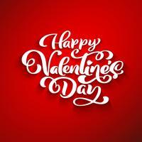 Carte de voeux romantique Happy Valentines Day, affiche de typographie avec calligraphie moderne. Style vintage rétro. Illustration vectorielle