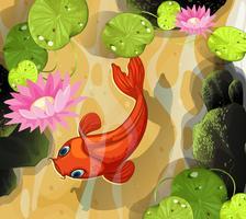 Koi nageant dans l'étang vecteur