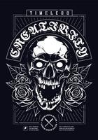Crâne avec Roses Print Design Grunge