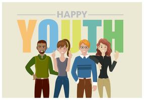 Quatre adolescents adolescents heureux voeux vecteur