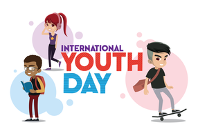 Journée internationale de la jeunesse des trois adolescents vecteur