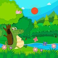 Crocodile assis au bord de la rivière vecteur