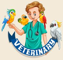 Signe vétérinaire avec oiseaux de compagnie et vétérinaire vecteur
