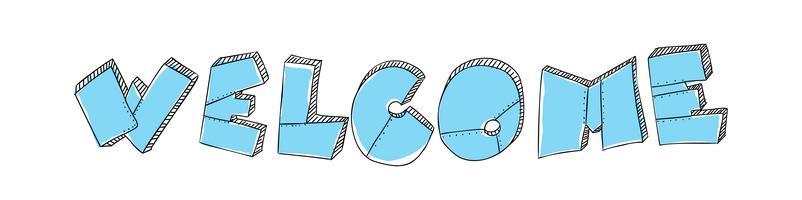 Le mot lettrage bienvenue se présente sous la forme de plaques de métal munies de rivets. Couleur turquoise. Style brutal grunge. Expression d'illustration vectorielle pour le web, design