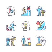 ensemble d'icônes de couleur rvb forte motivation. atteindre l'objectif. peur de l'échec. désir de reconnaissance et d'approbation. atteindre le but. illustrations vectorielles isolées. collection de dessins au trait remplis simples vecteur