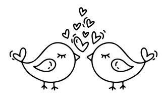 Monoline de vecteur deux oiseaux avec des coeurs. Icône de dessinés à la main Saint Valentin. Croquis de vacances doodle Design élément de plante Valentin décor d'amour pour le web, le mariage et l'impression. Illustration isolée