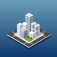 Concept isométrique de la ville de l'entreprise d'infrastructure urbaine