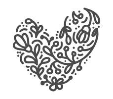 Coeur de Velentines scandinaves dessinés à la main avec la silhouette de l'icône s'épanouir ornement. Vecteur simple symbole de la Saint-Valentin contour. Élément de conception isolé pour le Web, le mariage et l'impression