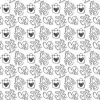 Main dessinée mignonne coeur de tasse Saint Valentin et amour de fond. Illustration vectorielle continue pour l'amour et le mariage, carte de voeux et invitation