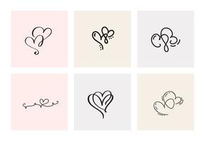 Ensemble de six coeurs calligraphiques vintage vecteur Saint Valentin dessinés à la main. Illustration de lettrage de calligraphie. Saint Valentin Design vacances. Icon love decor pour le Web, le mariage et l'impression. Isolé