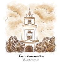 Eglise, buisson, nuage - aquarelle et encre. vecteur
