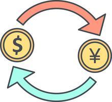Échange yen avec l'icône de vecteur de dollar