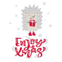 Profitez du texte de lettrage de calligraphie de Noël. Carte de voeux scandinave de Noël avec illustration vectorielle dessinés à la main de hérisson avec cadeau. Objets isolés