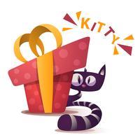 Personnages de chat mignons avec cadeau rouge vecteur