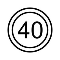 Icône de vecteur vitesse limite 40