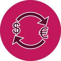 Échange d'euro avec l'icône de vecteur de dollar