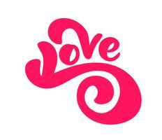 Rouge amour manuscrite manuscrite vecteur lettrage concept de Saint-Valentin. Calligraphie moderne brosse dessinée à la main. Isolé sur fond blanc, illustration de conception pour carte de voeux, mariage, Saint Valentin