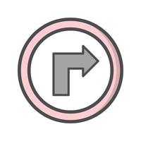 Vecteur tourner à la droite icône