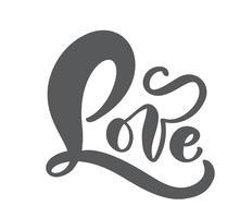 Rouge amour manuscrite manuscrite vecteur lettrage concept de Saint-Valentin. Calligraphie moderne brosse dessinée à la main. Isolé sur fond blanc, illustration de conception pour carte de voeux, mariage, Saint Valentin, imprimer, tag