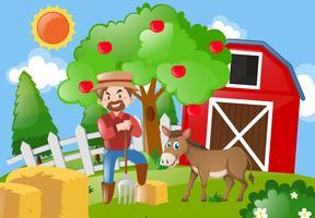 Agriculteur et âne dans la basse-cour vecteur
