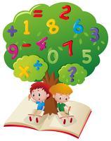 Deux garçons étudient les mathématiques sous l'arbre vecteur