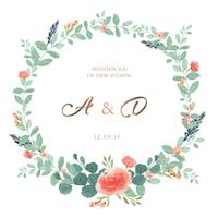 Couronnes aquarelles fleurs peintes à la main avec la bordure de texte, aquarelle de fleurs luxuriantes isolé sur fond blanc. Décor design pour carte, faites gagner la date, cartes d'invitation de mariage, affiche, bannière.