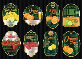 Ensemble de collection d'étiquettes dorées vintage rétro de fruits bio vecteur