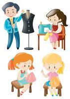 Homme et femme cousant des vêtements