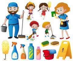Les gens qui font les tâches ménagères et le nettoyage des équipements vecteur