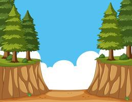 Scène de pins sur la falaise vecteur