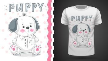 Tee-shirt chien, chiot - idée d'impression vecteur