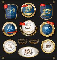 Collection de design vintage rétro des étiquettes de vente d'or vecteur