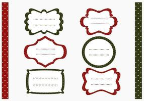 Polka Dotted Christmas Label et Pattern Vector Pack