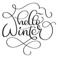 Bonjour texte de calligraphie d'hiver sur fond blanc. Lettrage dessiné à la main illustration vectorielle EPS10