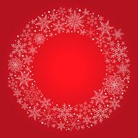 Fond de Noël vecteur rouge avec couronne de flocon de neige