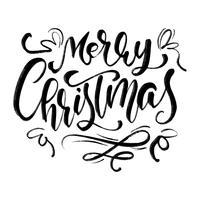 Joyeux Noël vector Calligraphic lettrage texte pour cartes de voeux de conception. Affiche de cadeau de voeux de vacances. Calligraphie moderne fonte