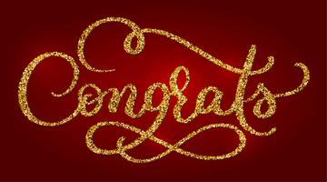 Félicitations main lettrage Calligraphie moderne à la brosse. Phrase dorée manuscrite avec texture rouge