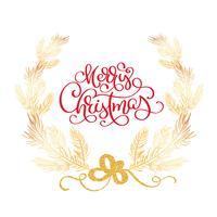 Texte de joyeux Noël et sapin frontière illustration vectorielle. Branches de cèdre réalistes, cadre isolé sur blanc. Calligraphie manuscrite