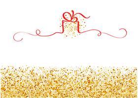fond doré stylisé avec ruban rouge en forme de cadeau avec la place pour le texte. Illustration de vacances vecteur EPS10