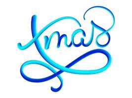 Texte de vecteur dégradé bleu Noël sur fond marron foncé. Modèle de carte de conception de lettrage calligraphique de Noël. Typographie créative pour l'affiche de cadeau de souhaits de vacances