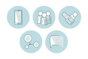 ensemble de communication de vecteur icône plate. illustration EPS10