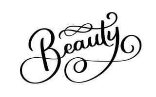 Affiche carrée de typographie beauté. Lettrage de vecteur. Phrase de calligraphie pour cartes-cadeaux, scrapbooking, blogs de beauté. Art de la typographie vecteur