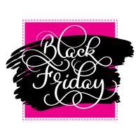 Texte de calligraphie vendredi noir sur fond de colorwater brosse noire. Illustration vectorielle dessinés à la main vecteur
