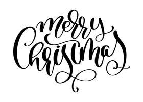 Inscription calligraphique joyeux Noël avec fleurir. Illustration vectorielle
