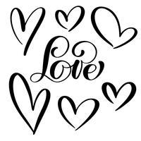 mettre le cœur des amoureux. Calligraphie de vecteur à la main. Décor pour cartes de vœux, mugs, superpositions de photos, t-shirts imprimés, flyers