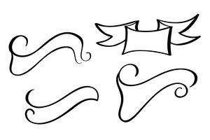 définir le vecteur bannière Vintage ruban. Style de dessin à la main
