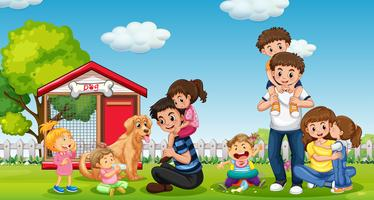 Famille heureuse au parc vecteur