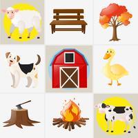 Différents types d'animaux et d'éléments de ferme
