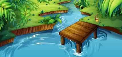 Scène de fond avec petite jetée au bord de la rivière vecteur