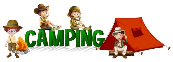 Création de polices avec mot camping vecteur